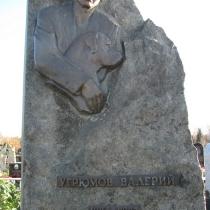 Портрет из бронзы на памятнике. Фото установленного памятника из природного камня на Лесном кладбище в Киеве.