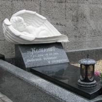 Фото нового памятника младенцу на городском кладбище Берковцы в Киеве. Размер памятника ребёнку на могилу, согласно разработанного проекта. Доступная цена памятника ребёнку $1 тыс., вместе с монтажом.