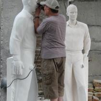 Фотография изготовления статуи. Высота скульптуры - 2,2 м. Доставка статуй по Украине.